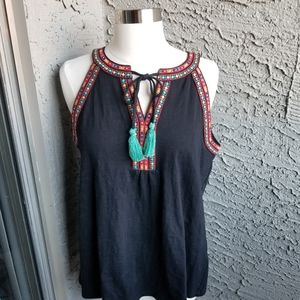 THML Black Embroidered Tank Top